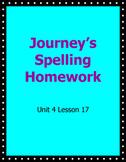Journey's Spelling Homework Week 17