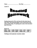 Journeys Spelling Homework for Unit 5 (Lessons 21-25)