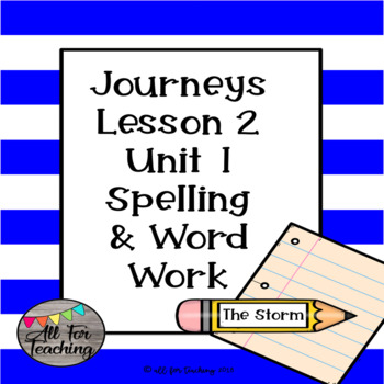 Journeys Spelling Lesson 2 Word Work