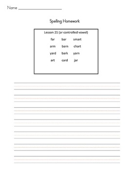 Journeys Spelling Homework Activities first grade, Lessons 21-26