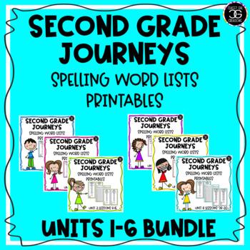 Journeys Spelling List Bookmarks BUNDLE Second Grade Units 1-6 Lessons 1-30