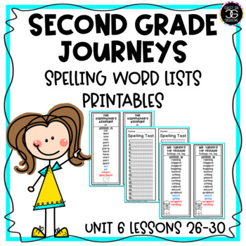 Journeys Spelling List Bookmarks Second Grade Unit 6 Lessons 26-30