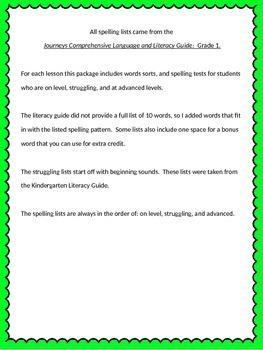 Journey's Spelling Lists: 1-14  Grade 1