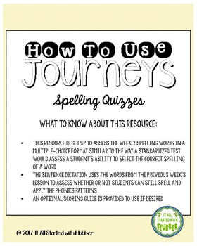 Journeys Third Grade Unit 1 Spelling Quizzes and Sentence Dictation