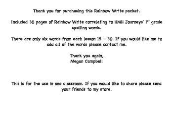 Journeys Spelling Rainbow Write