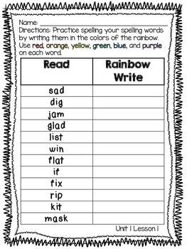 Journeys Spelling Rainbow Write 2nd Grade BILINGUAL