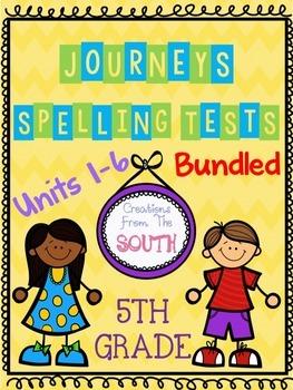 """BUNDLE """"Journeys"""" Spelling Tests - 5th Grade"""