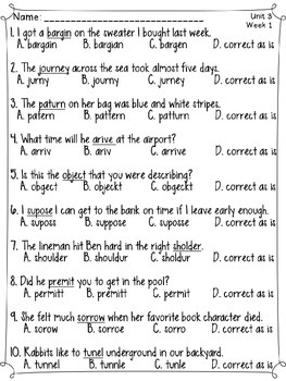 journeys spelling tests 5th grade unit 3 by creations from the south