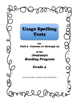 Journeys Grade 4 Spelling Tests UNIT 3