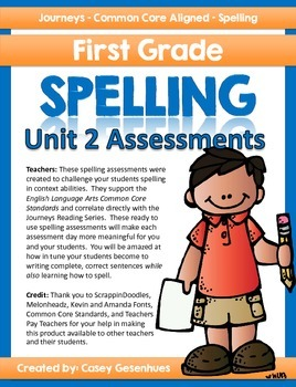 Journeys Spelling Tests (Unit 2)