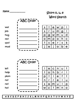 Spelling Word Searches and ABC Order Grade 2 Set 1