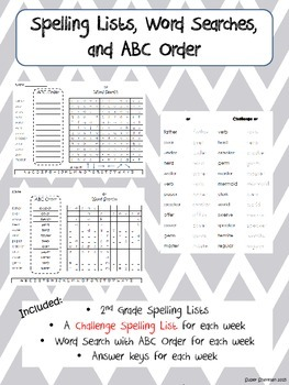 Journeys Spelling Word Searches and ABC Order Second Grade Entire Year