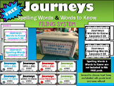 Journeys Spelling & Words to Know Words Filing System( Black & White or Color)