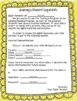Journey's Student Log-In Information Letter