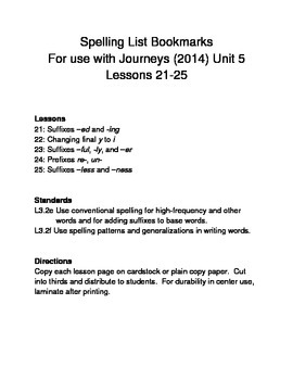 L3.2e L3.2f Journeys (2014) Supplement Unit 5 Spelling List Bookmarks