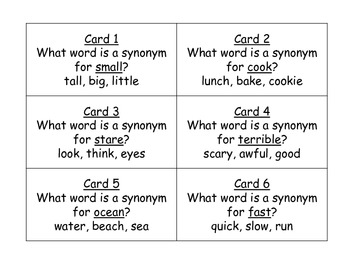 Synonym Task Cards for Journeys Grade 2