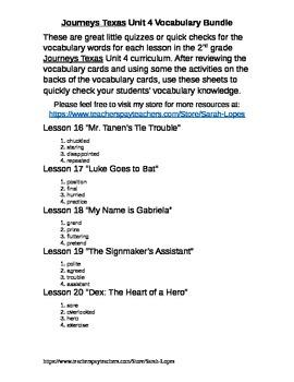 Journeys Texas 2nd Grade Unit 4 Vocabulary Checks Bundle