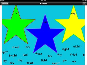 The Kite Promethean Board Flipchart- Journeys-words with y, ie, igh