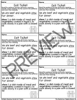 Journeys- The Mysterious Tadpole Exit Tickets