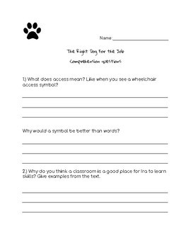 Journeys The Right Dog For the Job Comprehension Questions