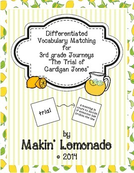 "Journeys: ""The Trial of Cardigan Jones"" Differentiated Vocabulary Match Game"