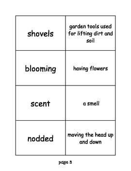 """Journeys: """"The Ugly Vegetables"""" Differentiated Vocabulary Match Game"""