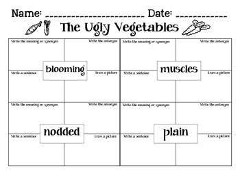 Journeys The Ugly Vegetables: Unit 2.2 Lesson 7 Spelling & Vocabulary Activities