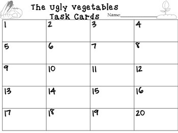 Journeys The Ugly Vegetables Vocabulary and Phonics Task Cards