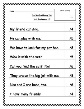 Journeys Theme One Oral Reading Test - 1st Grade