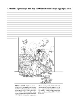 """Journey's """"They Call Her Molly Pitcher"""" Comprehension & Vocabulary Worksheet"""
