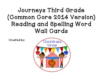 Journeys Third Grade Spelling and Vocabulary Word Wall Cards