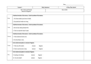 Journeys Third Grade Daily Sentences Unit 1