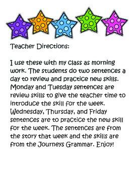 Journeys Third Grade Daily Sentences Unit 2