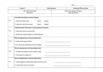 Journeys Third Grade Daily Sentences Unit 3