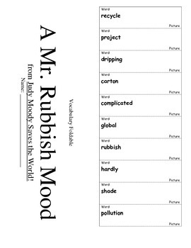 Journeys Third Grade Lesson 16 Vocabulary Foldable; A Mr. Rubbish Mood
