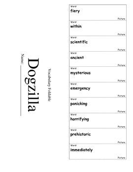 Journeys Third Grade Lesson 19 Vocabulary Foldable; Dogzilla
