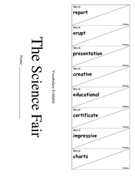 Journeys Third Grade Lesson 12 Vocabulary Foldable; The Science Fair