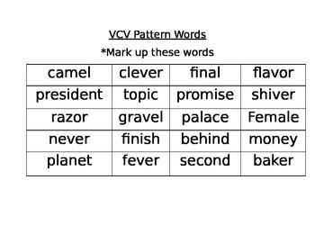 Journeys Third Grade Lesson 6 VCV words