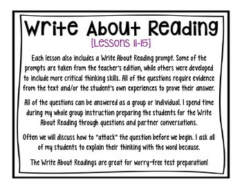 Journeys - Third Grade - Lessons 11-15 Graphic Organizers + Write About Reading