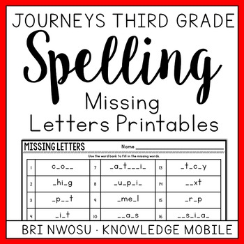 Journeys Third Grade - Missing Letter Printables