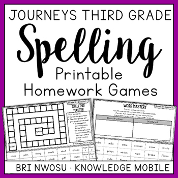 Journeys Third Grade - Printable Homework Games