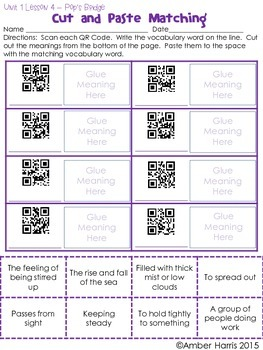 Journeys Third Grade QR Code Vocabulary Printables Unit 1