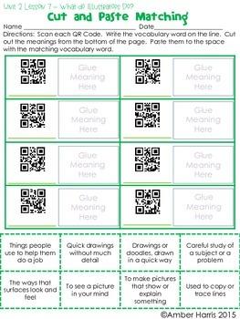 Journeys Third Grade QR Code Vocabulary Printables Unit 2