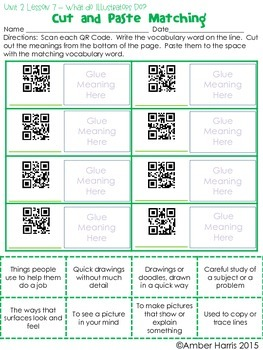 Journeys Third Grade QR Code Vocabulary Printables Unit 2
