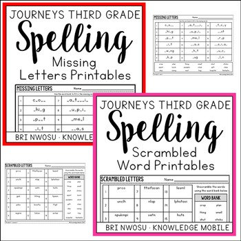 Journeys Third Grade - Spelling Homework, Printables, and Centers