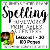 Journeys Third Grade - Spelling Homework, Printables, and Centers