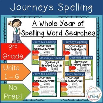 Journeys Third Grade: Spelling Words Bundle - Word Searches