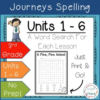 Journeys 3rd Grade: Spelling Words Bundle - Word Searches