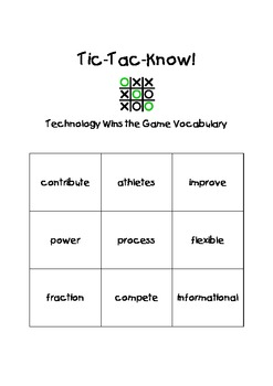 Journeys Third Grade Tic Tac Know! Vocabulary Unit 3