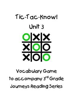 Journeys Third Grade Tic Tac Know! Vocabulary Unit 3